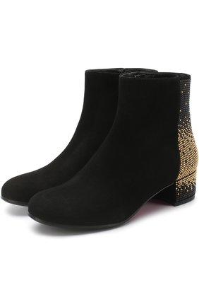 Замшевые ботинки со стразами | Фото №1