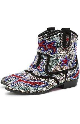 Кожаные ботинки со стразами   Фото №1