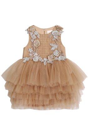 Детское многослойное платье с цветочной аппликацией и бисером Mischka Aoki золотого цвета | Фото №1