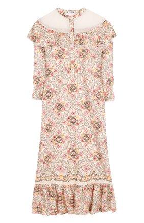 Шелковое платье-миди с принтом | Фото №1