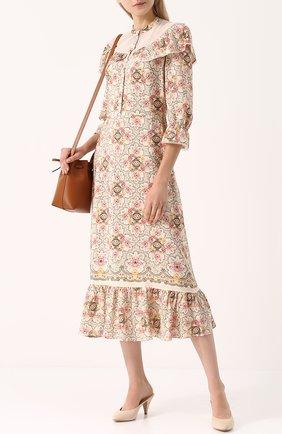 Шелковое платье-миди с принтом Vilshenko разноцветное | Фото №1