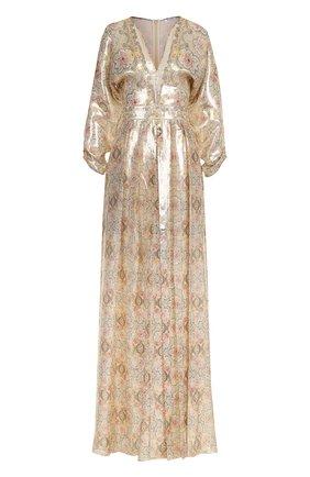 Шелковое платье-макси с принтом | Фото №1
