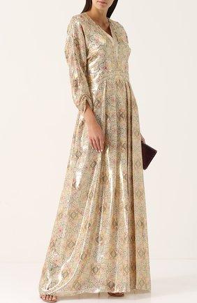 Шелковое платье-макси с принтом Vilshenko золотое | Фото №1