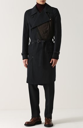 Однобортное пальто из смеси шерсти и хлопка с поясом Kolor темно-синего цвета | Фото №1