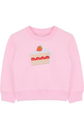 Детский хлопковый свитшот с аппликацией Candyshop Russia розового цвета | Фото №1