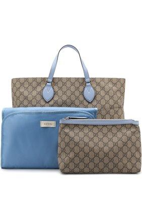 Детская комплект из сумки с косметичкой и ковриком для пеленания GUCCI голубого цвета, арт. 457356/K5ICG | Фото 1