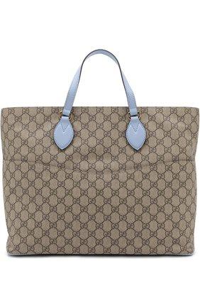 Детская комплект из сумки с косметичкой и ковриком для пеленания GUCCI голубого цвета, арт. 457356/K5ICG | Фото 2