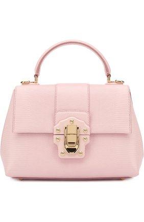 Сумка Lucia из тисненой кожи Dolce & Gabbana светло-розовая цвета | Фото №1