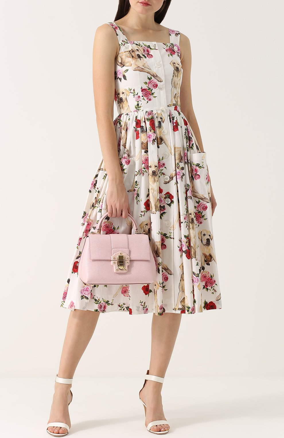 Сумка Lucia из тисненой кожи Dolce & Gabbana светло-розовая цвета | Фото №2