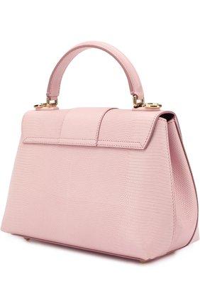 Сумка Lucia из тисненой кожи Dolce & Gabbana светло-розовая цвета | Фото №3