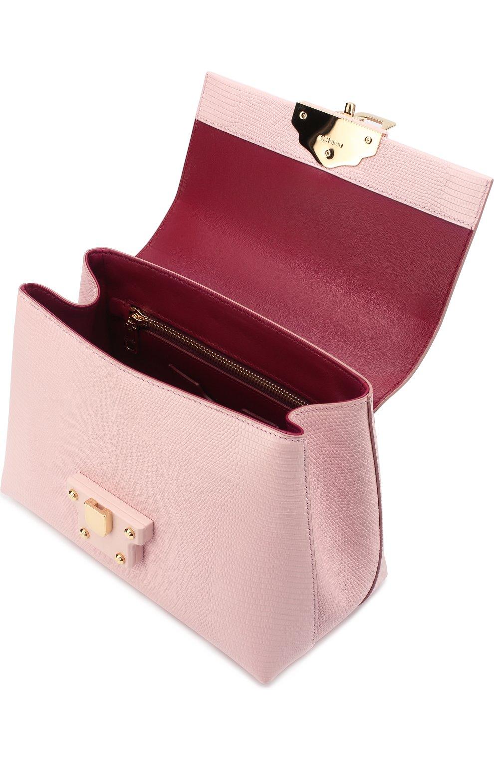 Сумка Lucia из тисненой кожи Dolce & Gabbana светло-розовая цвета | Фото №4