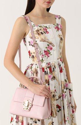 Сумка Lucia из тисненой кожи Dolce & Gabbana светло-розовая цвета | Фото №5