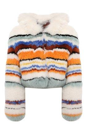 Укороченная шуба из меха лисы с капюшоном Missoni разноцветная | Фото №1