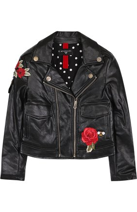 Куртка из эко-кожи с аппликациями Jakioo черного цвета | Фото №1