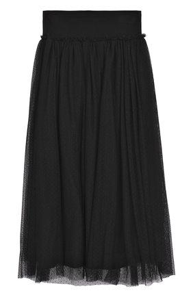 Многослойная юбка-миди с широким поясом | Фото №1