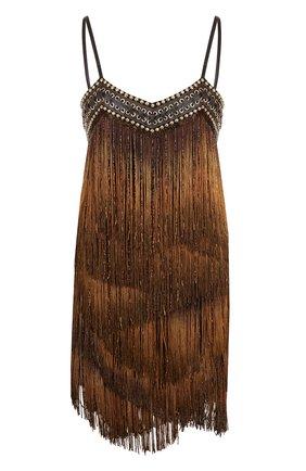 Мини-платье с бахромой и шнуровкой   Фото №1