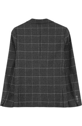 Однобортный пиджак из шерсти в клетку | Фото №2