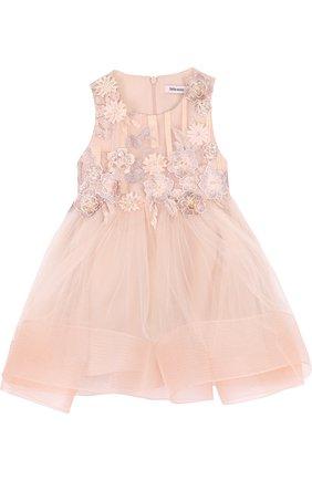 Детское многослойное платье с пышной юбкой и цветочной аппликацией Little Miss Aoki розового цвета   Фото №1
