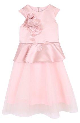 Детское платье-миди с цветочной аппликацией и баской Little Miss Aoki розового цвета   Фото №1
