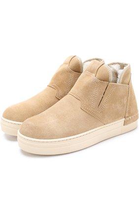 Замшевые ботинки с внутренней меховой отделкой и эластичными вставками | Фото №1