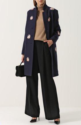 Шерстяное пальто с цветочной вышивкой Vilshenko темно-синего цвета | Фото №1