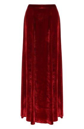 Бархатная юбка-макси с высоким разрезом Alice + Olivia красная   Фото №1