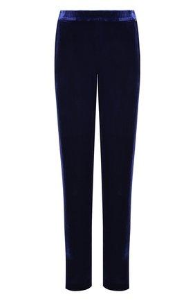 Однотонные бархатные брюки прямого кроя | Фото №1