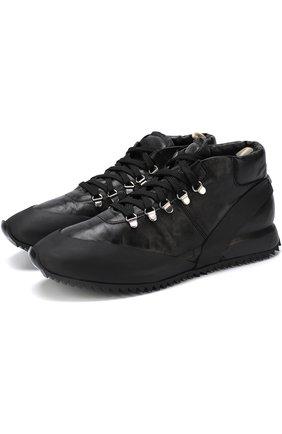 Кожаные кроссовки на шнуровке с внутренней меховой отделкой