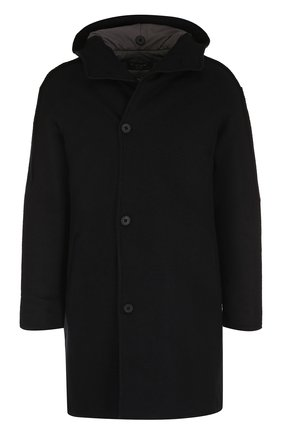 Однобортное шерстяное пальто с капюшоном