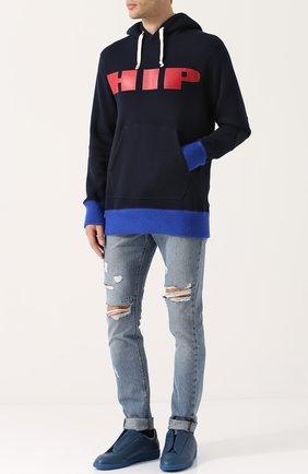 Хлопковое худи с принтом и контрастной отделкой Junya Watanabe темно-синий | Фото №1