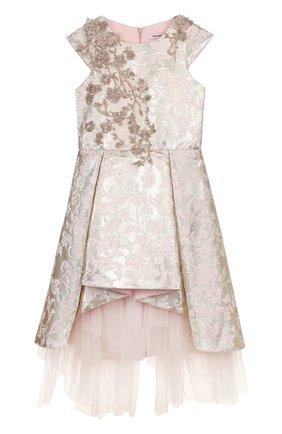 Платье асимметричного кроя с металлизированной отделкой и вышивкой | Фото №1