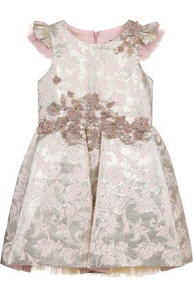 Детское приталенное платье с металлизированной отделкой и вышивкой Little Miss Aoki золотого цвета   Фото №1