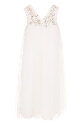 Детское платье свободного кроя с вышивкой и кристаллами Little Miss Aoki белого цвета   Фото №1