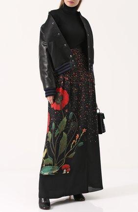 Шелковая юбка-макси с принтом Vilshenko черная | Фото №1