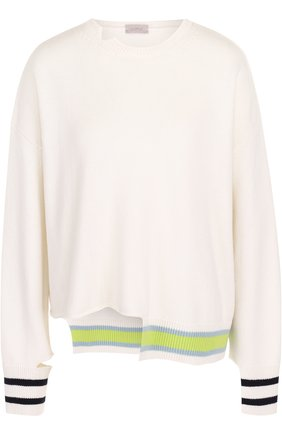 Пуловер асимметричного кроя из смеси шерсти и кашемира   Фото №1