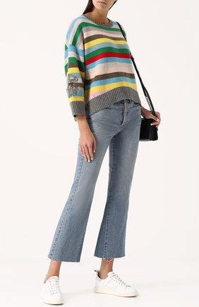 Шерстяной пуловер свободного кроя с в полоску Zadig&Voltaire разноцветный | Фото №1