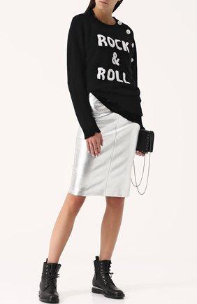 Кашемировый пуловер с контрастной надписью Zadig&Voltaire черный | Фото №1