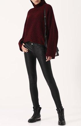 Однотонные кожаные брюки-скинни Zadig&Voltaire черные | Фото №1