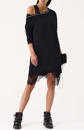 Шерстяное платье-миди с длинным рукавом Zadig&Voltaire темно-синее | Фото №1