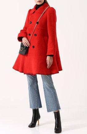 Шерстяное двубортное пальто Comme des Garcons GIRL красного цвета | Фото №1