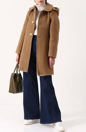 Двубортное шерстяное пальто с капюшоном Comme des Garcons GIRL темно-бежевого цвета | Фото №1