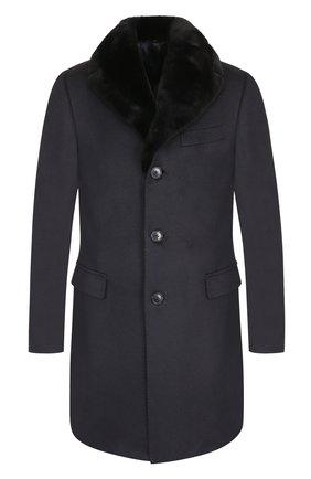 Однобортное кашемировое пальто с меховой отделкой воротника