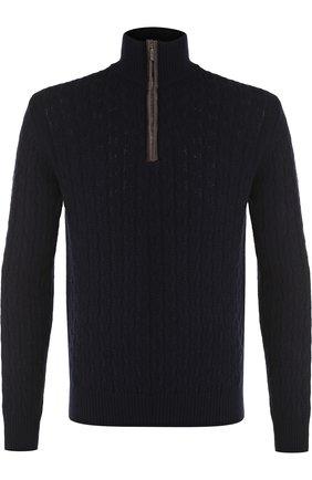 Кашемировый свитер фактурной вязки с воротником на молнии   Фото №1