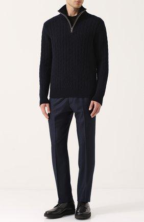 Кашемировый свитер фактурной вязки с воротником на молнии   Фото №2