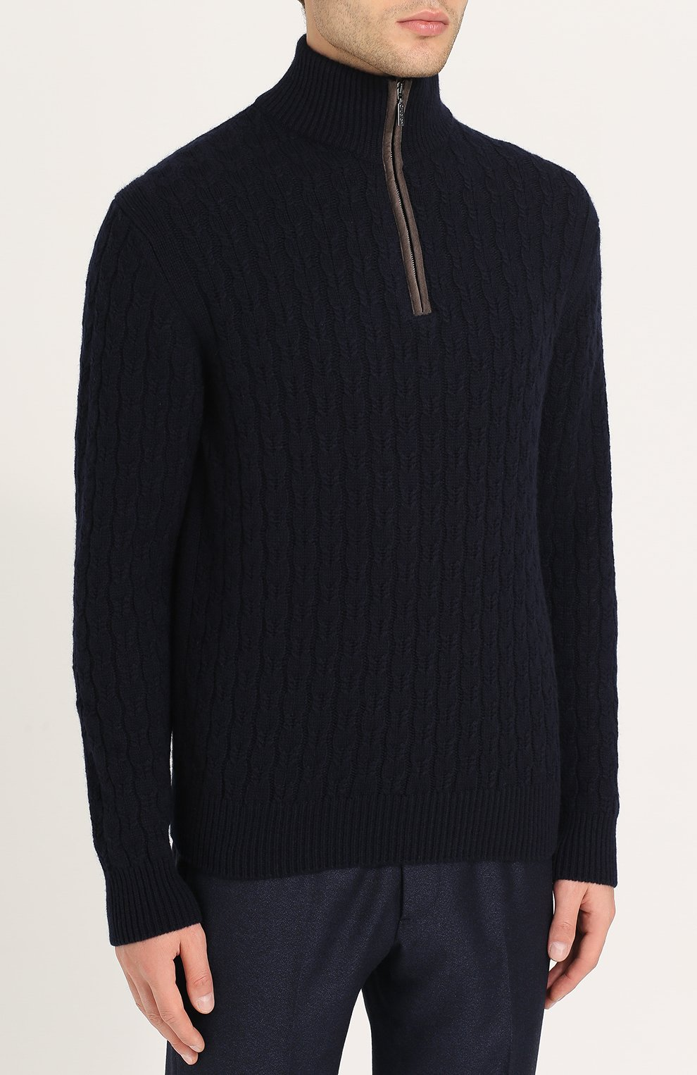 Кашемировый свитер фактурной вязки с воротником на молнии   Фото №3