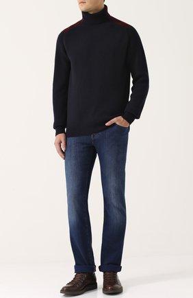 Шерстяной свитер фактурной вязки с воротником-стойкой   Фото №2