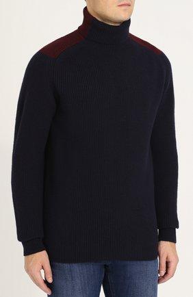 Шерстяной свитер фактурной вязки с воротником-стойкой   Фото №3