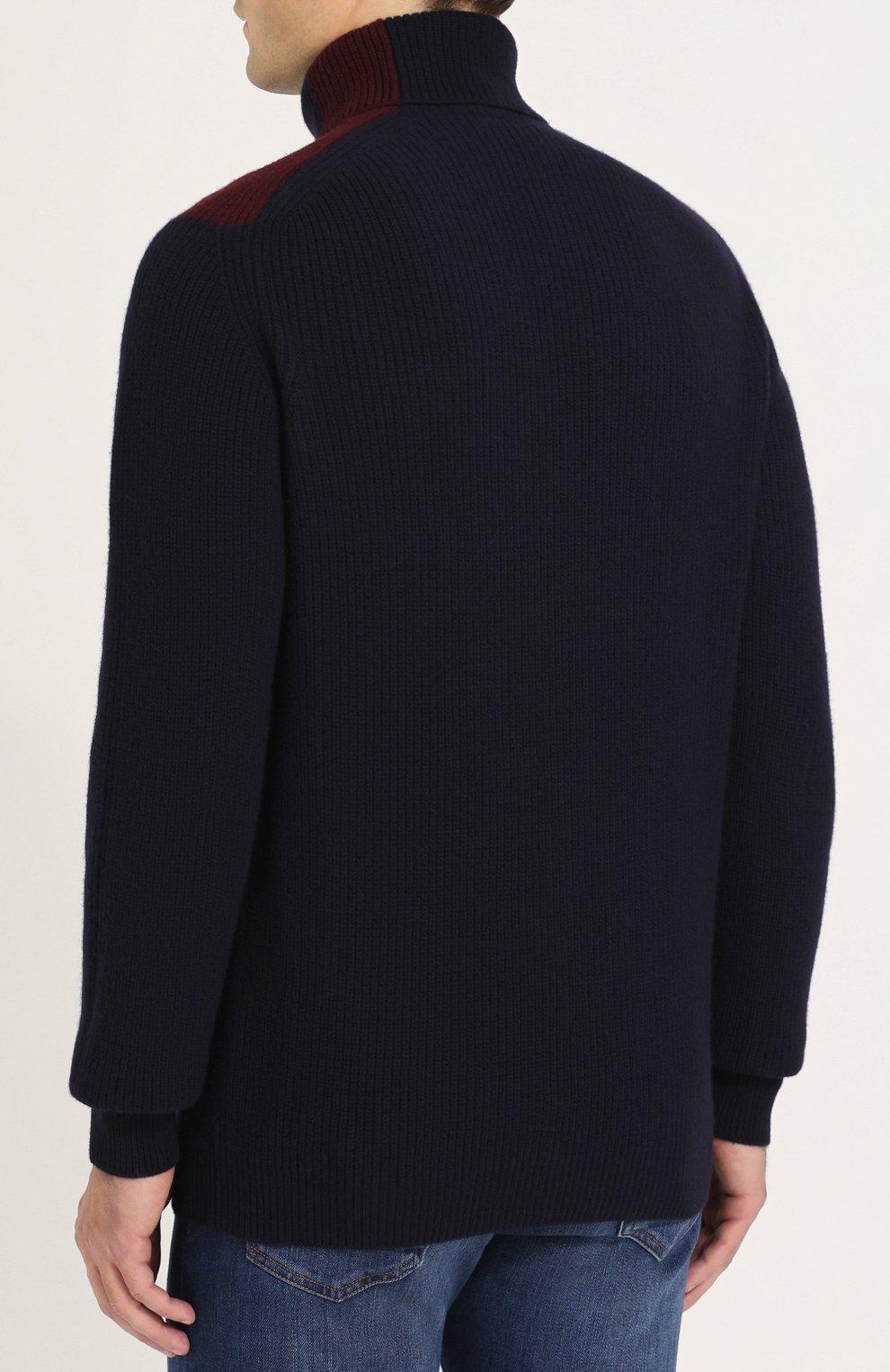 Шерстяной свитер фактурной вязки с воротником-стойкой   Фото №4