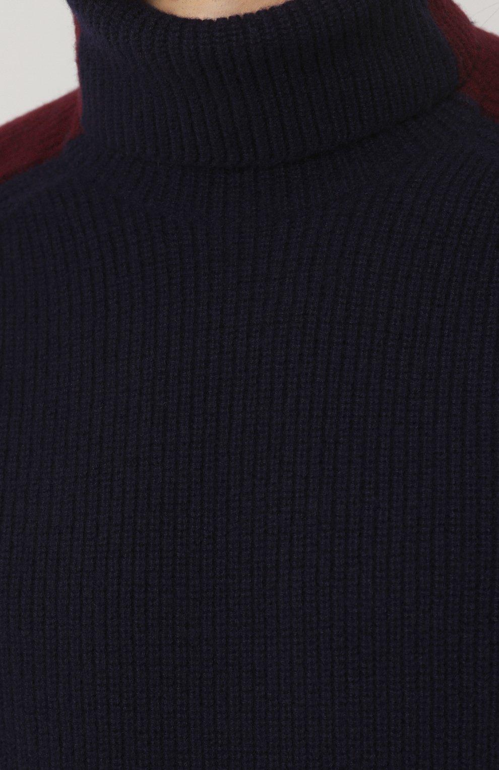 Шерстяной свитер фактурной вязки с воротником-стойкой   Фото №5