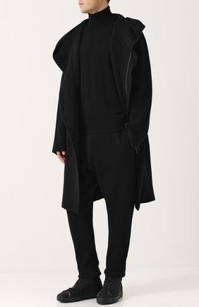 Шерстяное пальто свободного кроя на молнии с капюшоном Gemma. H черного цвета | Фото №1